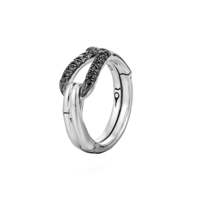 John Hardy Bamboo Sterling Silver & Black Sapphire Hook Ring